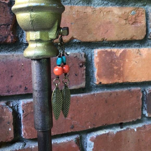 Coral Aqua Leaf Handmade Earrings